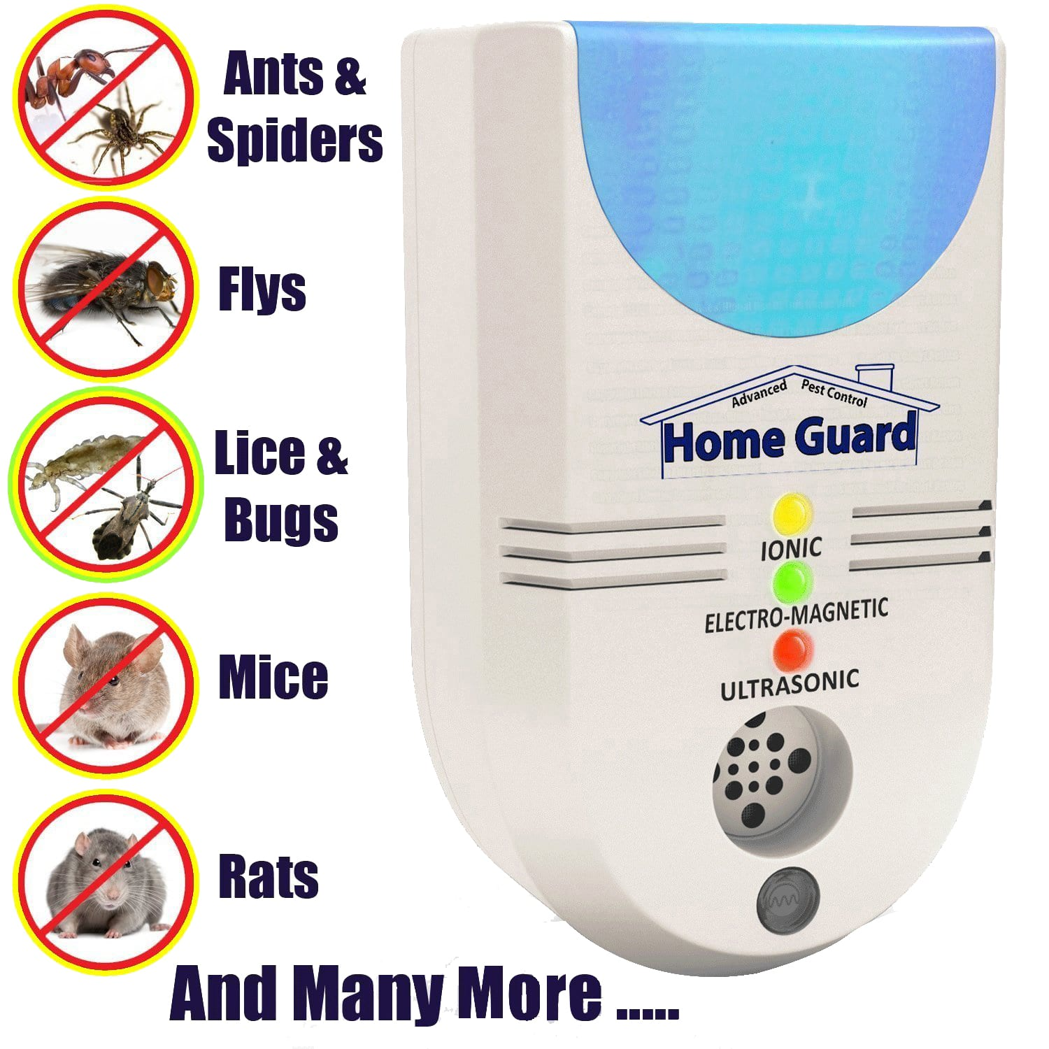 home guard plug in ultrasonic pest repeller for ants, spiders, flys, lice, mice, rats, mosquito