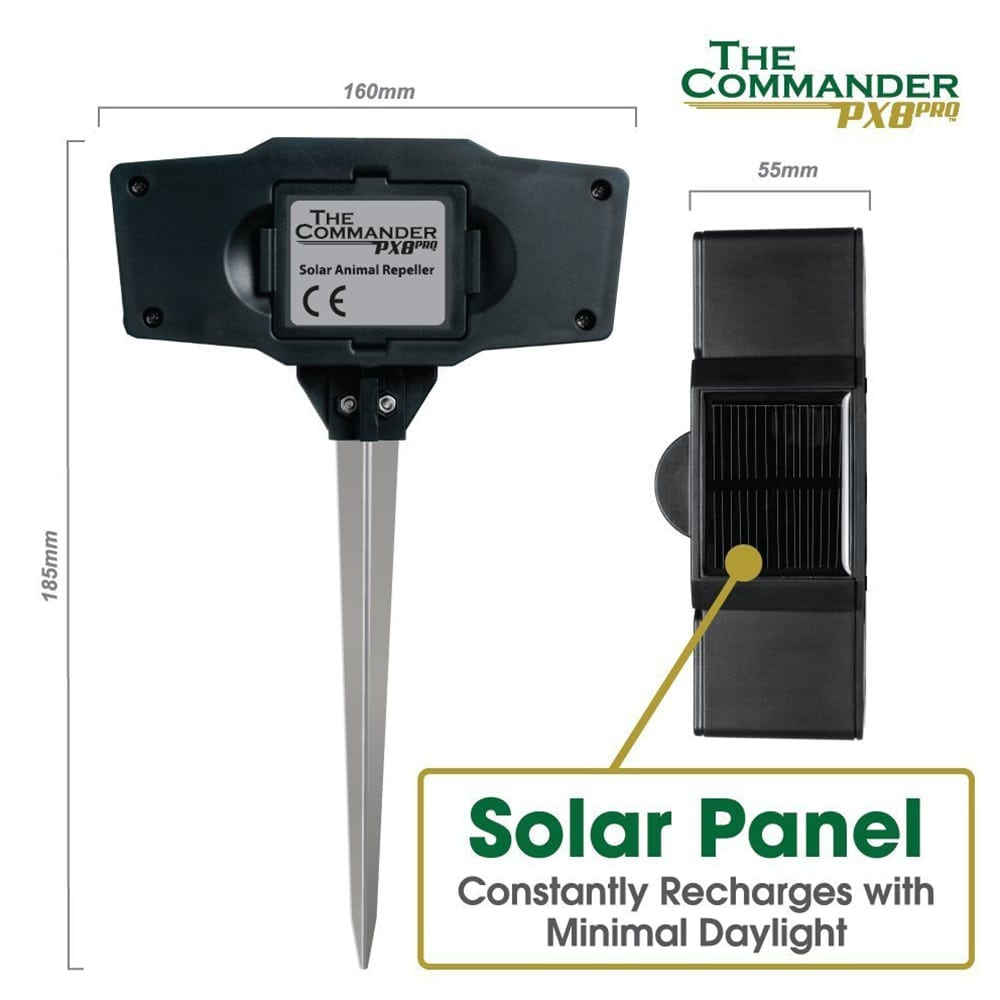 solar ultrasonic pest repeller saving the need for battery replacements