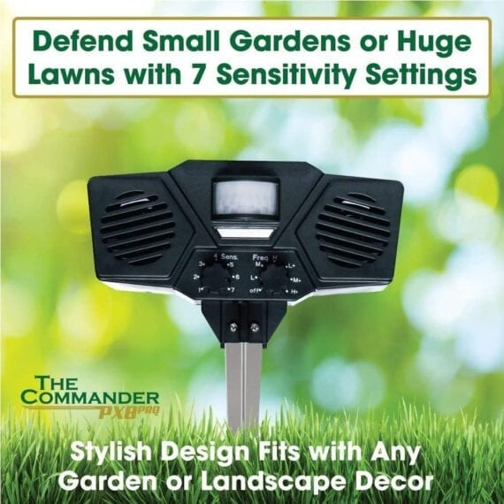 Defend small gardens or huge lawns with 7 sensitivity settings - stylish design fits with any garden or landscape decor