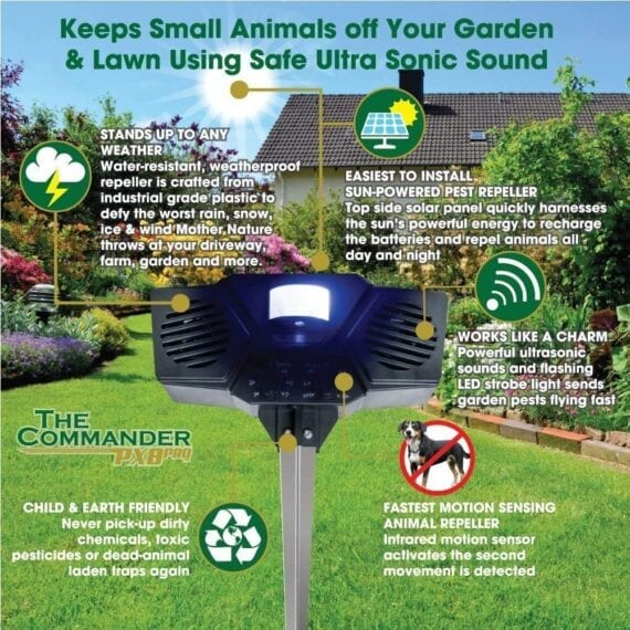 Keep small animals off your garden and lawn using the safe ultrasonic sound from the PX8 Pro