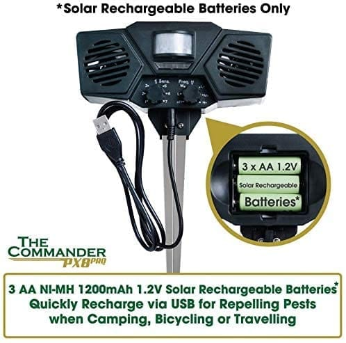 Solar Rechargeable Batteries in the PX8 Pro Ultrasonic Pest Repeller