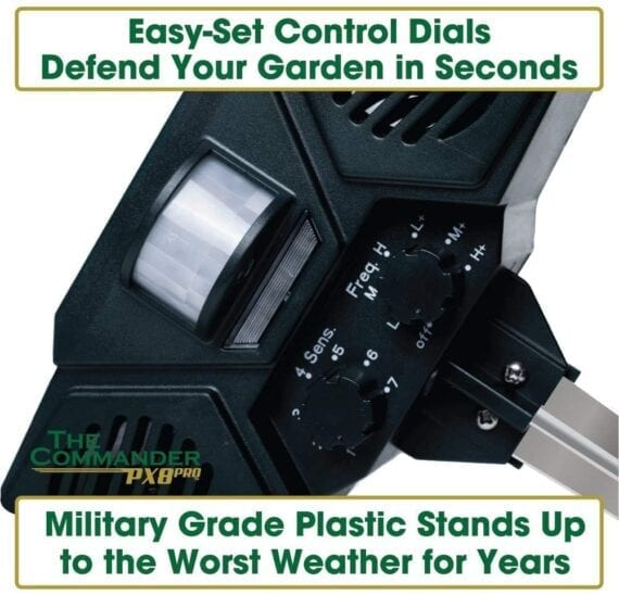Easy set up control dials on the home guard the commander px8 pro military grade plastic solar powered ultrasonic outdoor pest repellent