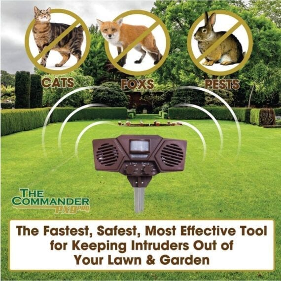Outdoor Solar Ultrasonic Pest Repellent – The Commander PX8PRO fast safe humane effective pest management tool home guard